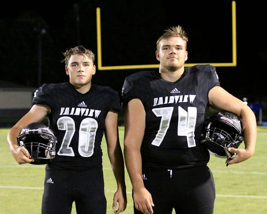 Fairview brothers representing the FHS Yellow Jackets this season  (l-r) freshman RB/LB #20 Jacob Clevenger and senior T/DT #74 Jackson Clevenger.