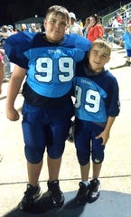 The Clevenger brothers in their younger Fairview Titans Jr Pro Youth Football playing days (l-r) Jackson and Jacob