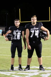 Fairview Yellow Jacket brothers (l-r) freshman #20 Jacob Clevenger and senior #74 Jackson Clevenger.