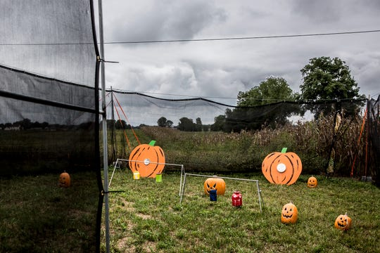 This year Pigeon Roast Farms in Hebron has a paintball area set up where participants can use pumpkins for target practice.