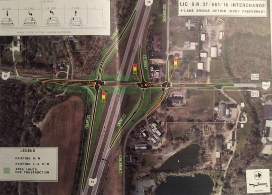 ODOT is recommending this plan for a four-lane bridge at Ohio 37, one of Granville's key gateways. Construction is planned for 2020.