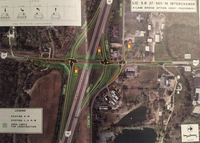 ODOT has recommended this plan for a four-lane bridge at Ohio 37, one of Granville's key gateways. Construction is planned for 2020.