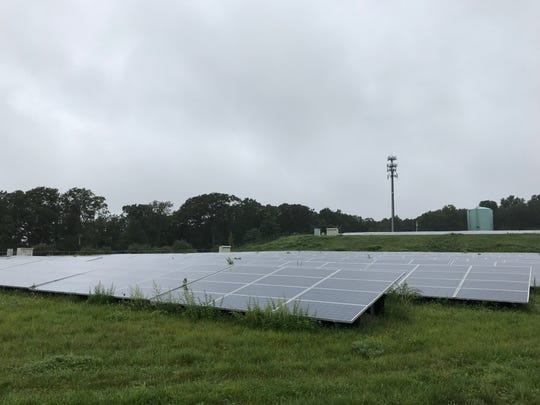 The solar field that serves the Hopatcong Board of Education, as seen on Sept. 14, 2018, sits adjacent to the town's civic center fields.