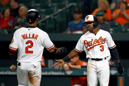 Baltimore Orioles' Cedric Mullins, right, greets teammate Jonathan Villar after they both scored on Tim Beckham's single in the first inning of a baseball game against the Oakland Athletics, Thursday, Sept. 13, 2018, in Baltimore.