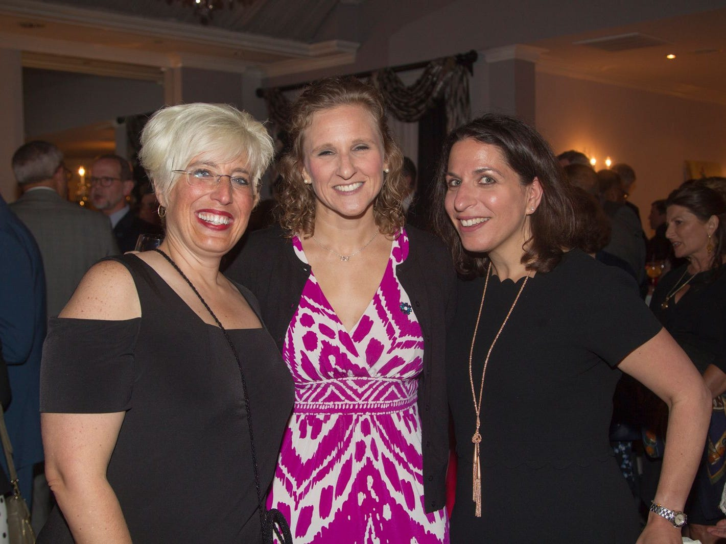 "Melissa Schnipp, Chris Reese, Amy Glazer. Hackensack University Medical Center Foundation hosted ""Dance in to Ro's World,"" an evening to honor Rosemarie J. Sorce at the Stony Hill Inn in Hackensack. 09/13/2018"