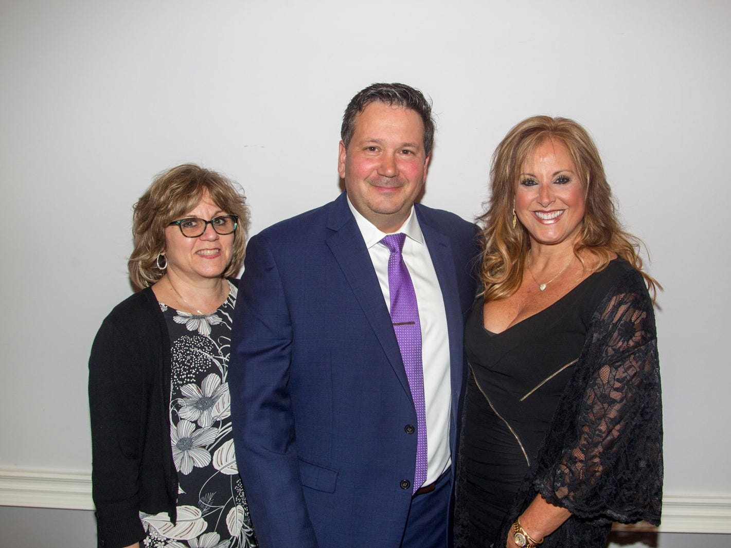 "Carla Alverez, Tom Alvarez, Bonnie Inserra. Hackensack University Medical Center Foundation hosted ""Dance in to Ro's World,"" an evening to honor Rosemarie J. Sorce at the Stony Hill Inn in Hackensack. 09/13/2018"