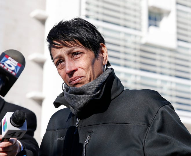 Evelyn Rodriguez, mother of Kayla Cuevas, 16, who was brutally slain in 2016 allegedly by members of the MS-13 street gang, stops to talk members of the press gathered outside U.S. District Court in Central Islip, N.Y., Thursday, March 2, 2017.