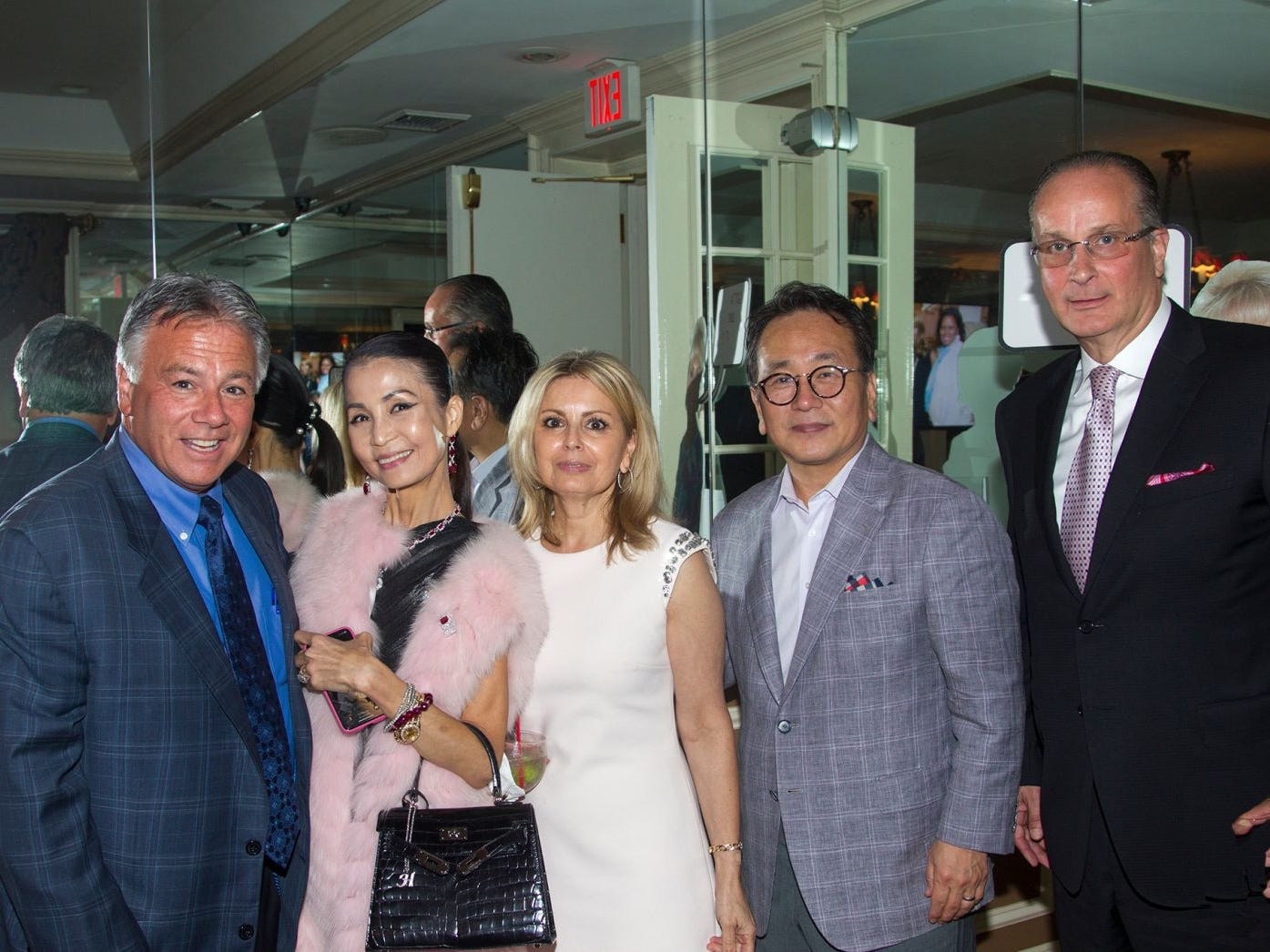 "Larry Inserra, Heather Choi, Gina Poppe, Dr. Mingi Choi, Glenn Poppe. Hackensack University Medical Center Foundation hosted ""Dance in to Ro's World,"" an evening to honor Rosemarie J. Sorce at the Stony Hill Inn in Hackensack. 09/13/2018"