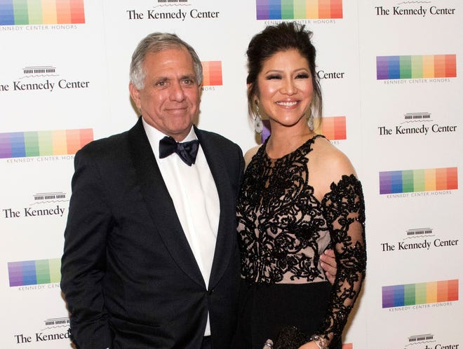 "Seen here with her embattled husband Les Moonves, Julie Chen unexpectedly showed her support for him at the close of Thursday night's live ""Big Brother"" show."