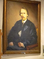 A portrait of Kit Carson inside his home, now a museum in Taos.