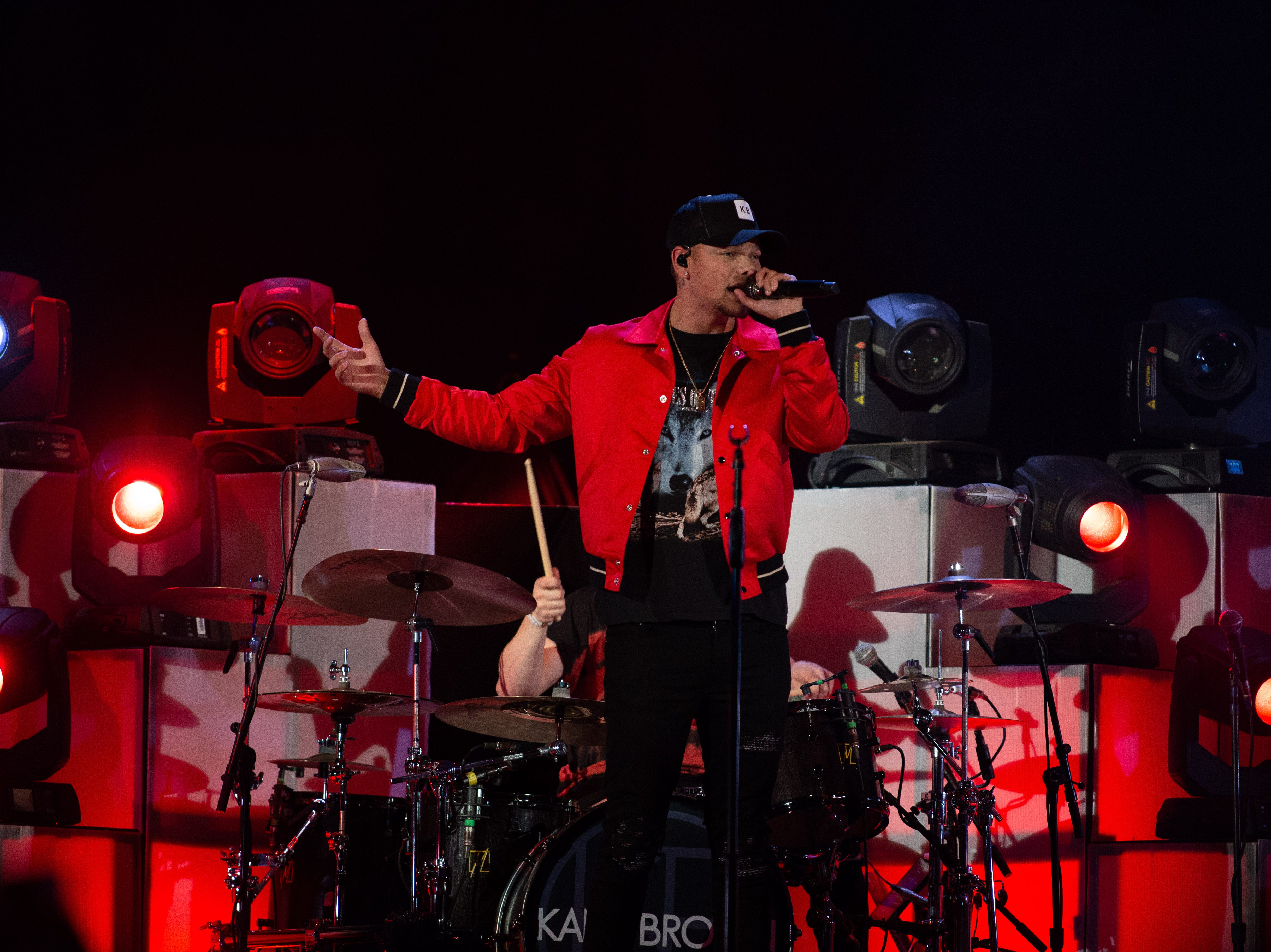 Kane Brown opens for Chris Young during a concert at the Pan Am Center in Las Cruces on Thursday, Sept. 13, 2018.
