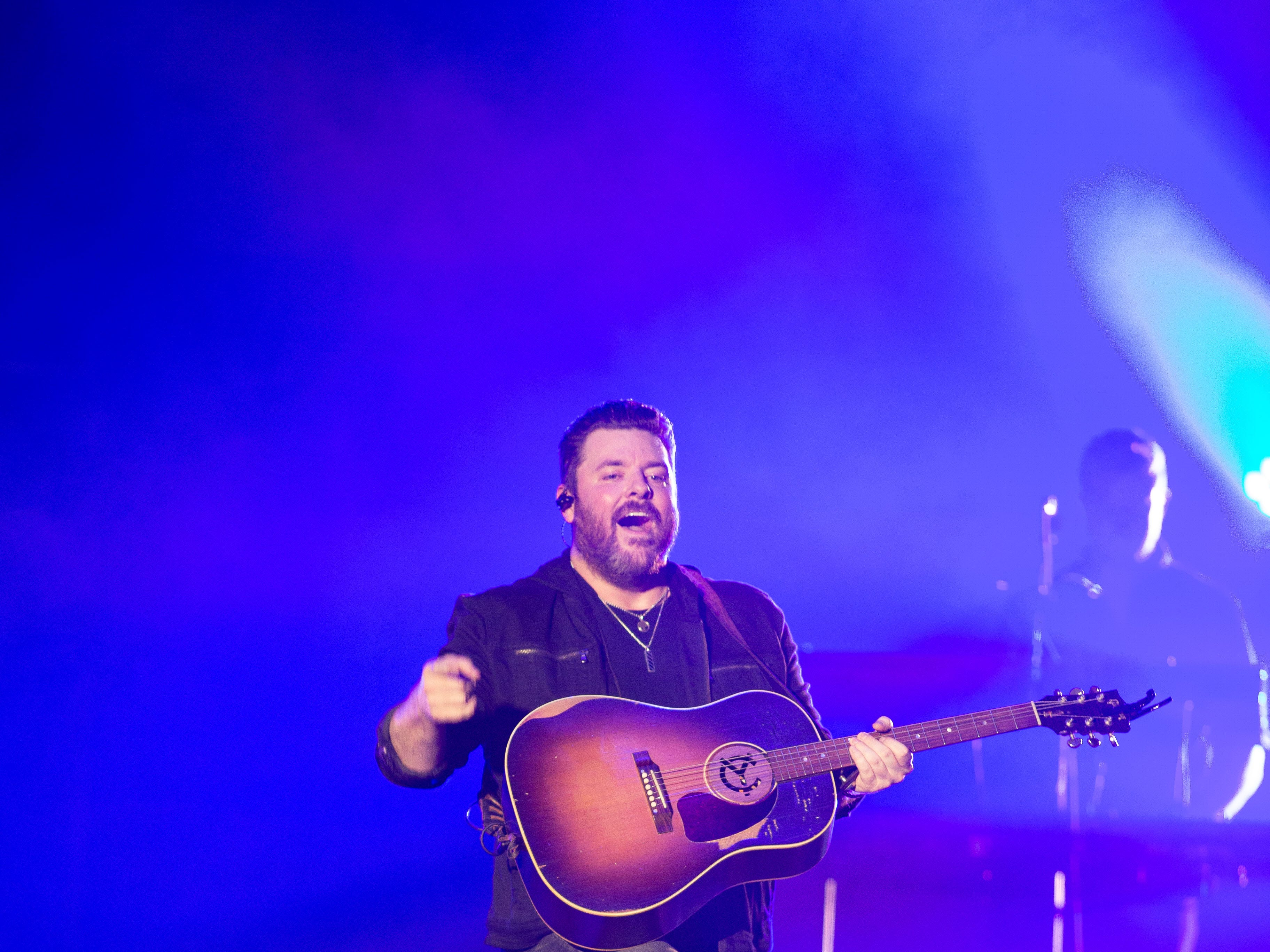 Chris Young gets the crowd going during his concert held at the Pan Am Center in Las Cruces on Thursday, Sept. 13, 2018.