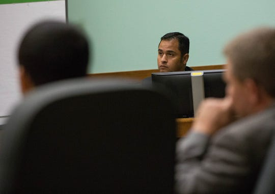 Las Cruces Police Department Det. Amador Martinez takes the stand as a witness during Lalo Anthony Castrillo IV's pre-trial detention hearing. Friday Sept.14, 2018.