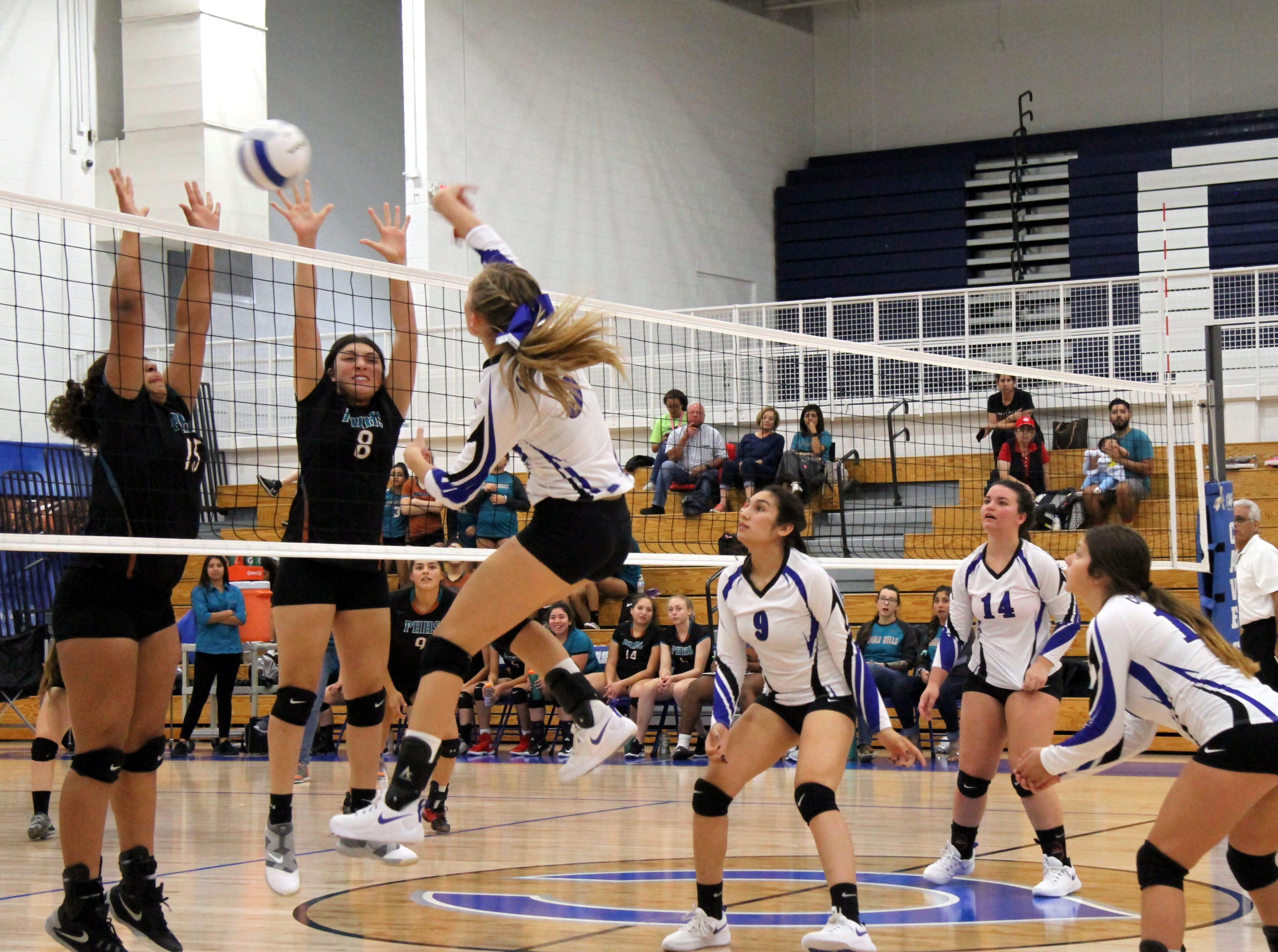 Alexa Sowers spikes a ball in the third set of Thursday's match against Pebble Hills.