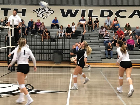 Plymouth libero Maddie Kirchoff hits the ball during Thursday's match.