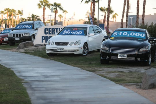 Used cars on display right up to the side walk at Hyundai of La Quinta on Thursday, September 13, 2018 in La Quinta.