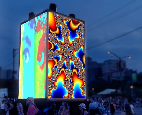 CUBED Luminous will be held over four days (the 8th through 11th) and feature an opportunity for hands-on participation. The event features a 12' by 18' LED cube and 16 laser projectors that are projecting on four 8' by 8' cubes.