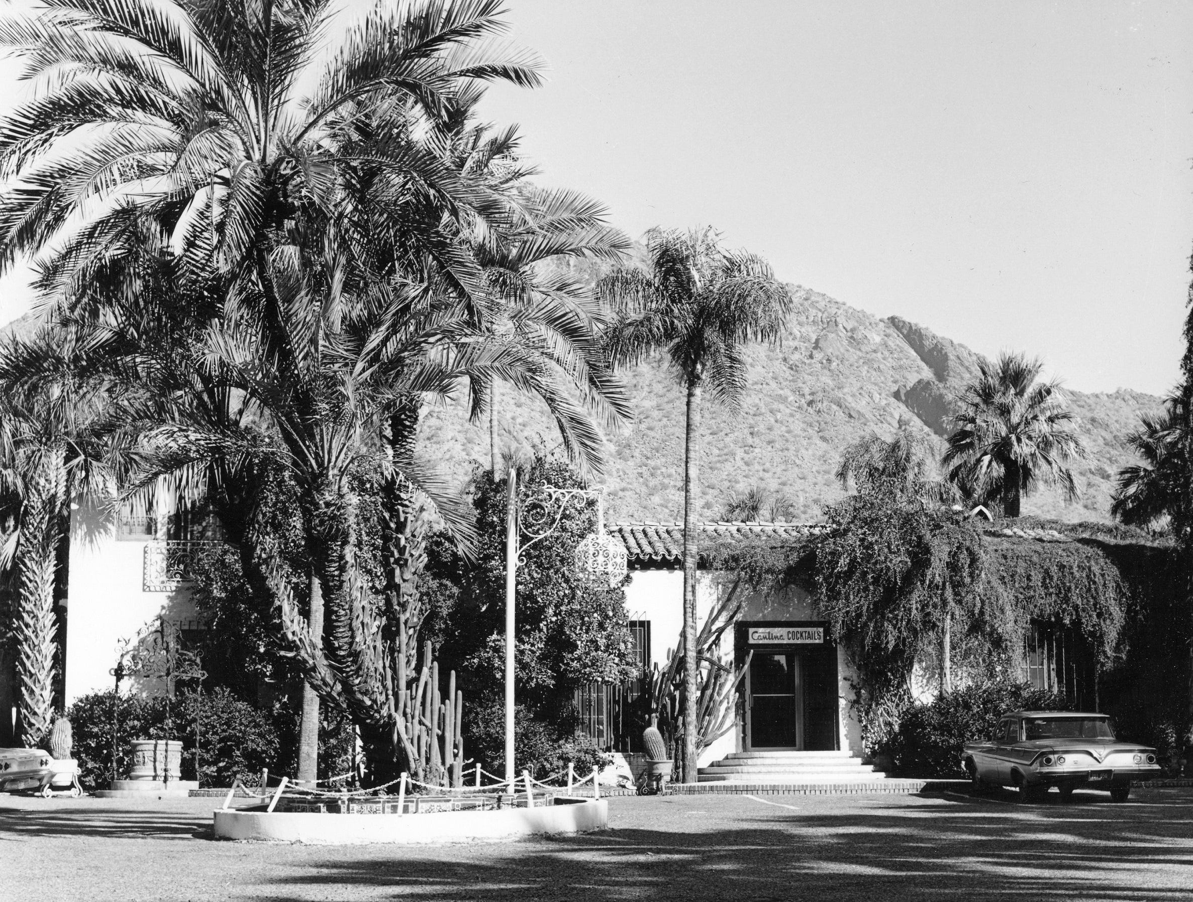 Royal Palms Resort and Spa's front entry, circa 1950.
