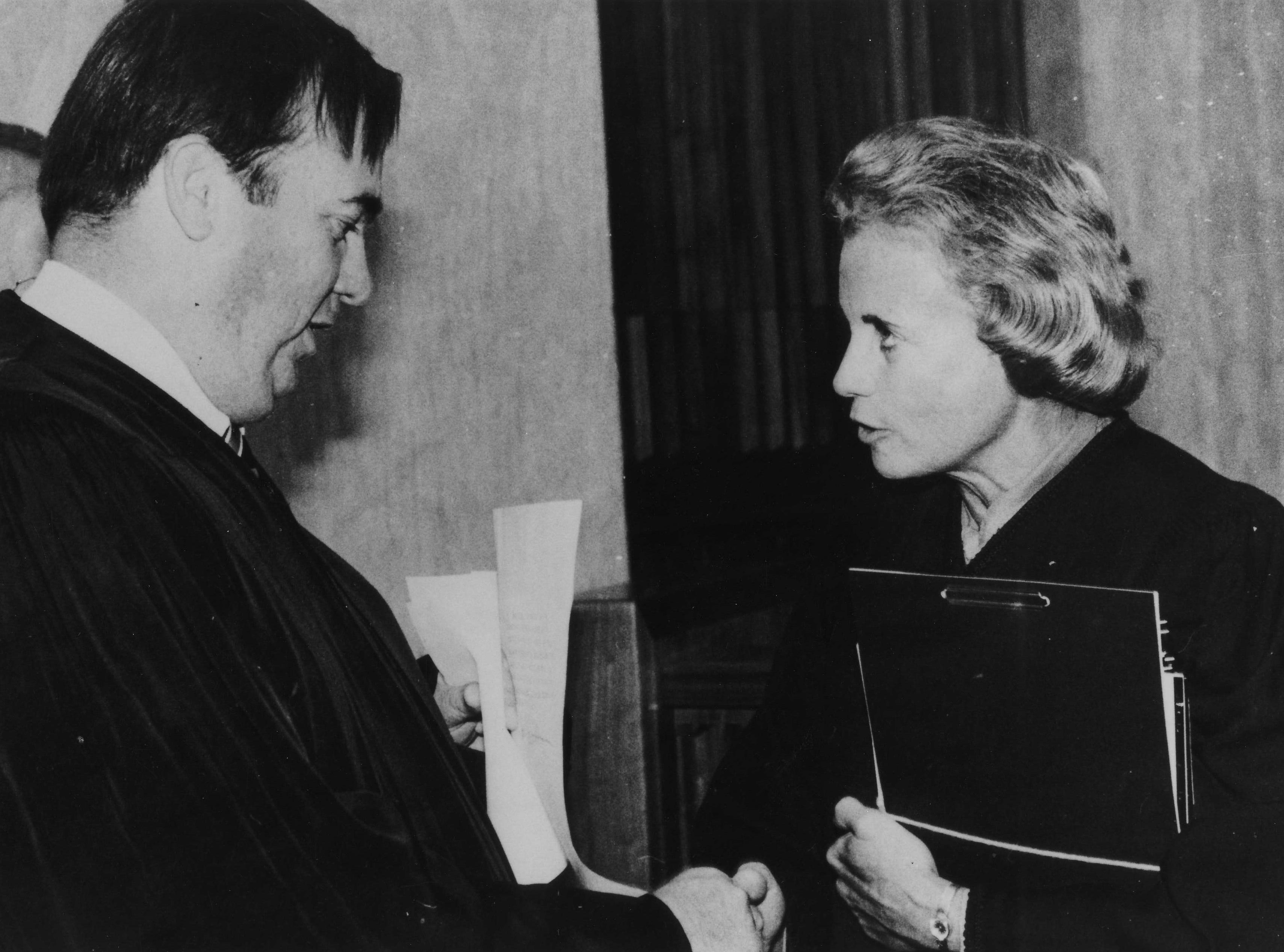 Sandra Day O'Connor and James Duke Cameron on Dec. 4, 1979.