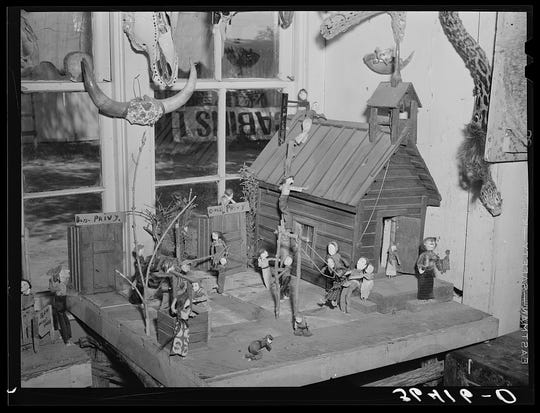 Homer Tate also created dioramas, such as this one-room schoolhouse (May 1940).