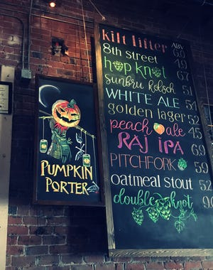 A long time bartender at Four Peaks' 8th St. brew house free hands the chalk board designs every season.