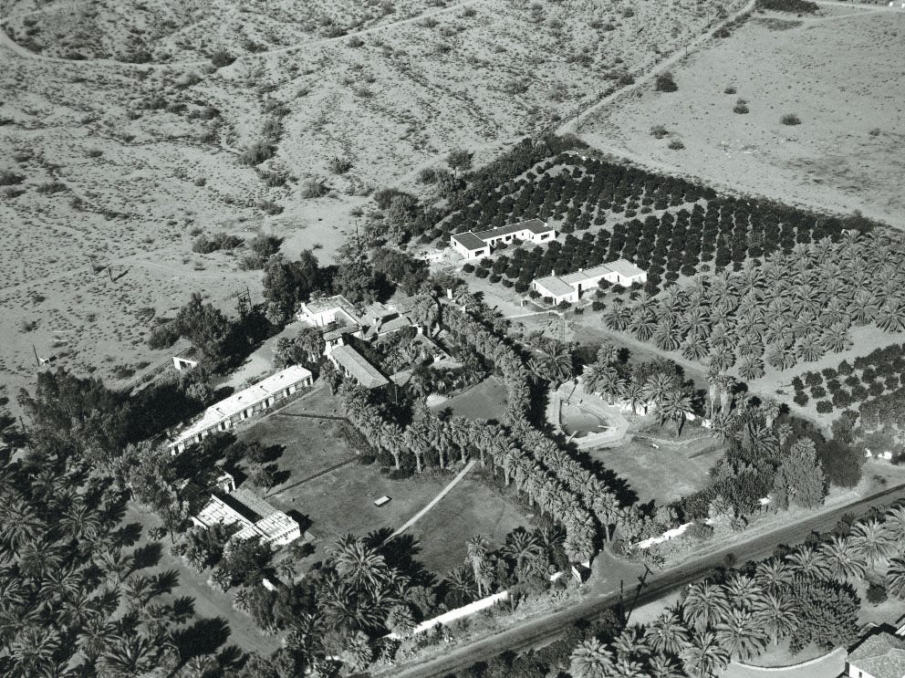 An historic aerial view of the Royal Palms Resort and Spa.