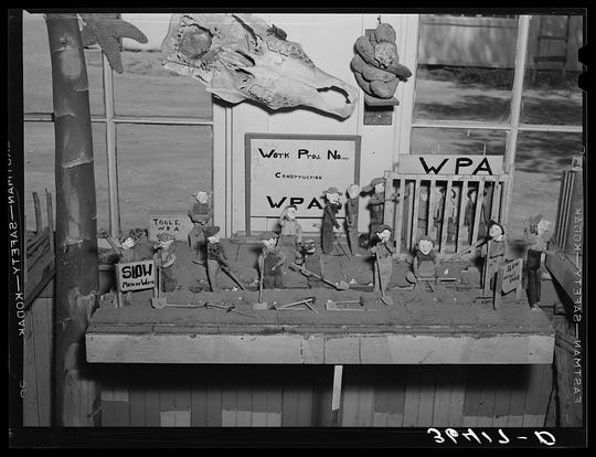 In addition to odd creatures and shrunken heads, artist Homer Tate created dioramas, like this scene from a WPA project. (May 1940.)