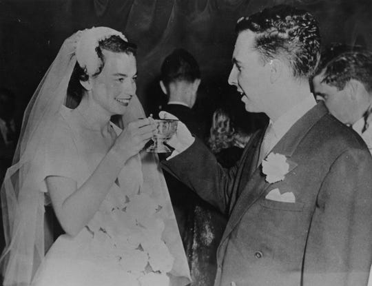 Sandra and John O'Connor on their wedding day on Dec. 20, 1952.