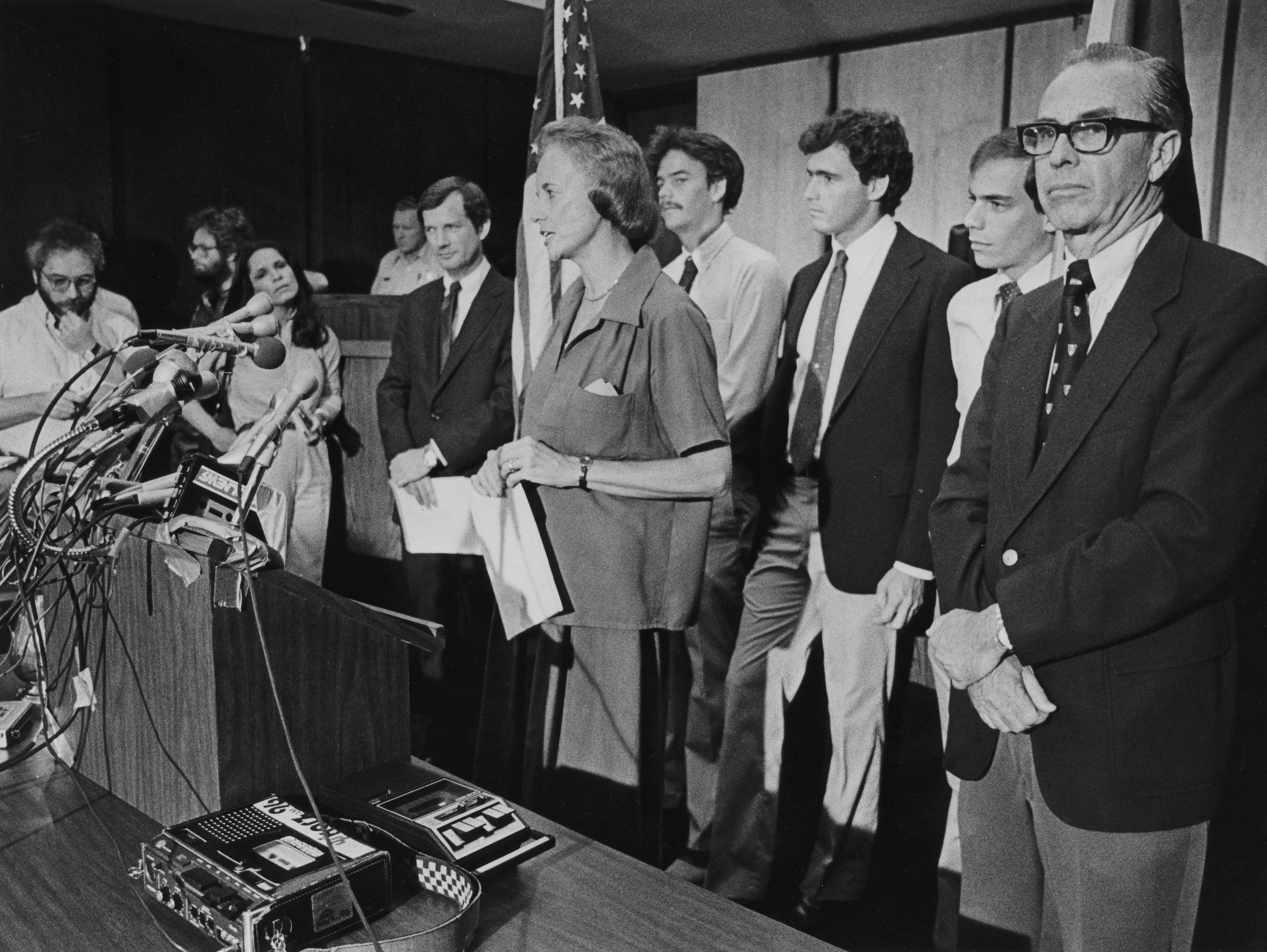 John Jay O'Connor (far right) stands with sons (from left) Brian, Scott and Jay while his wife,  Sandra, fields questions at a news conference on July 7, 1981. O' Connor said the family really hasn't had time to think about future plans.