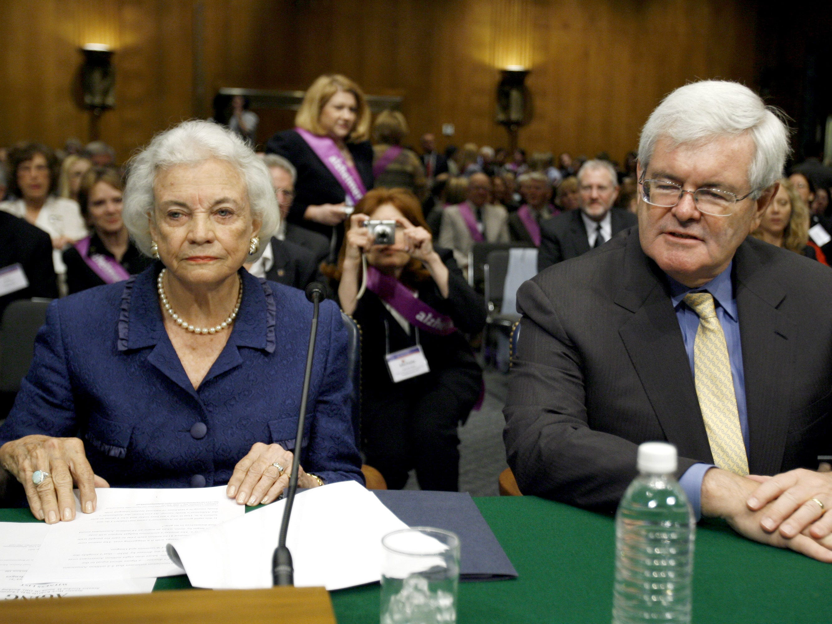 Former Supreme Court Justice Sandra Day O'Connor and former House Speaker Newt Gingrich testify on Capitol Hill in Washington, Wednesday, May 14, 2008, before the Senate Special Committee on Aging hearing on Alzheimer's disease.