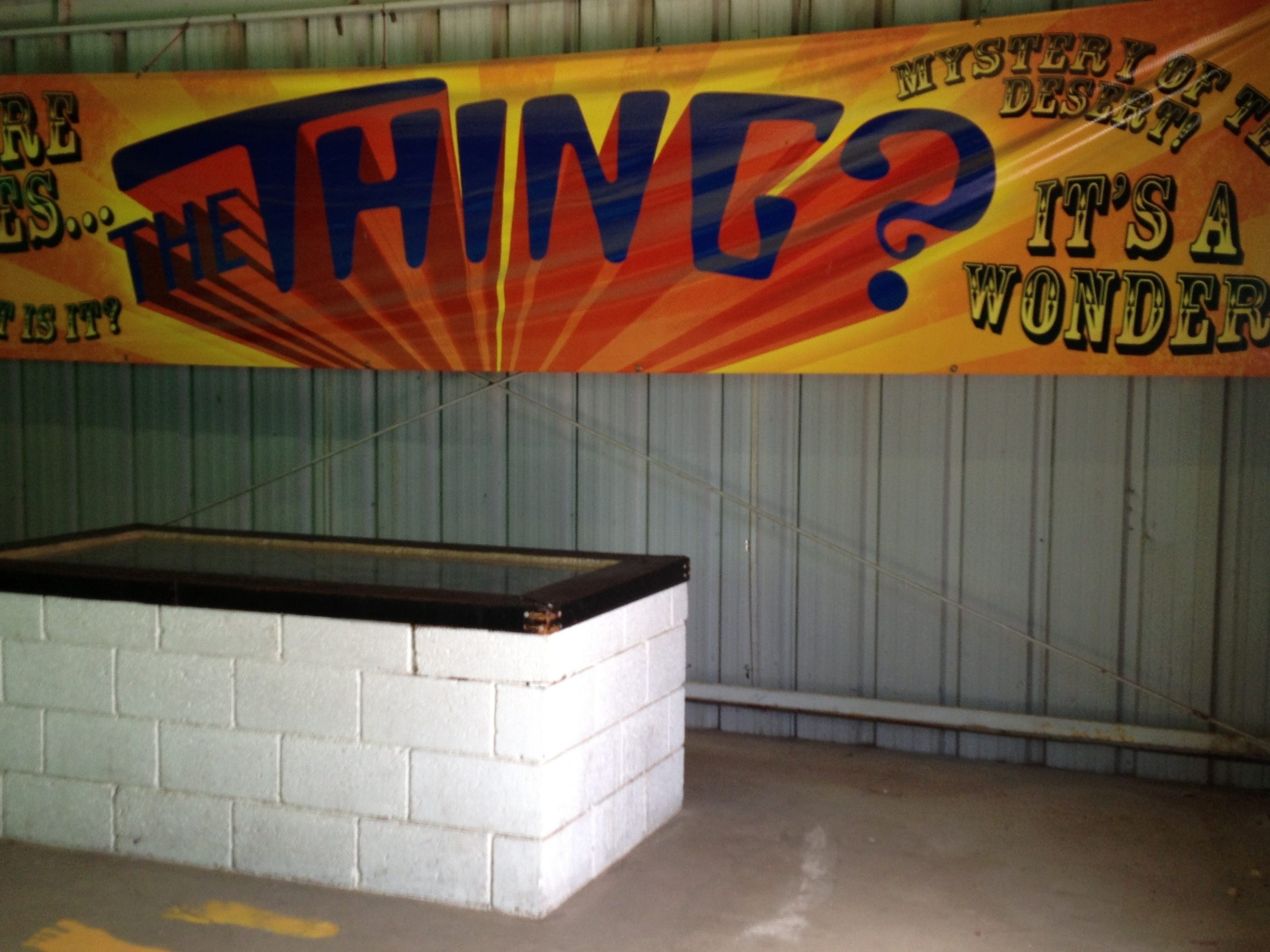 One of Homer Tate's most notable creations, The Thing, has had a longtime home at the Bowlin Travel Center east of Benson. In 2018, The Thing Museum opened and it now rests in dimly lit cavern instead of a cement-block coffin.