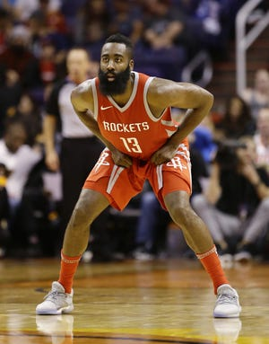 Houston Rockets James Harden against the Phoenix Suns in the second half on Nov. 16, 2017, at Talking Stick Resort Arena in Phoenix.