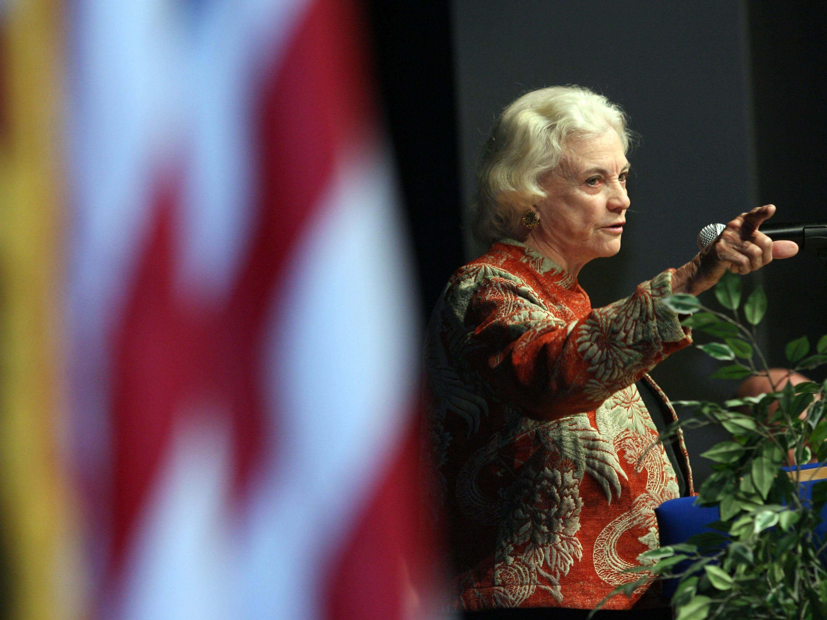 Court Justice Sandra Day O'Connor speaks to seniors at Sandra Day O'Connor High School in Glendale on March 6, 2007.