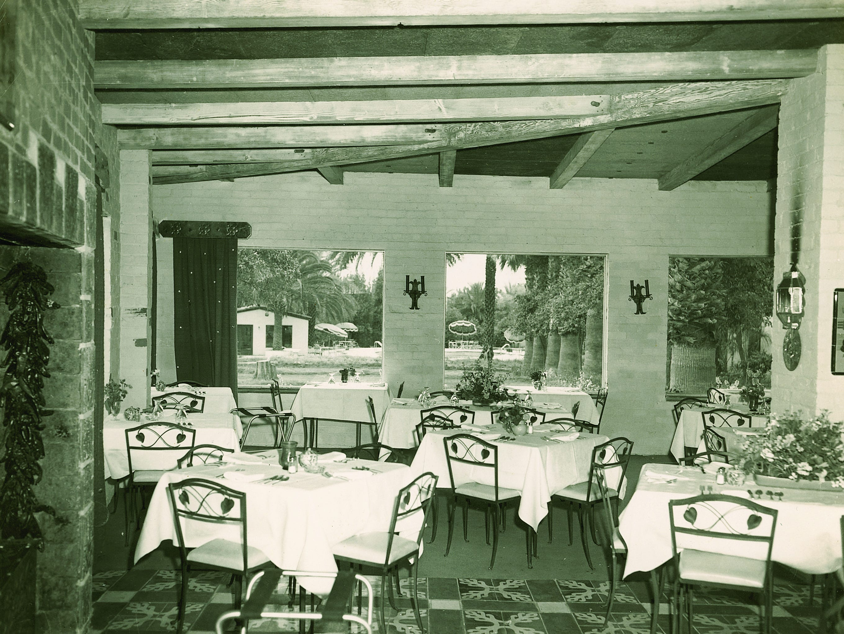 An historic photo of the T. Cook's dining room at the Royal Palms Resort and Spa.