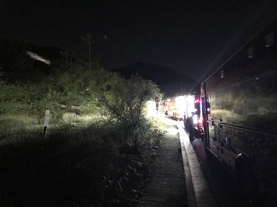 Emergency crews rescued a female hiker Thursday evening after a boulder rolled over her ankle on Camelback Mountain.