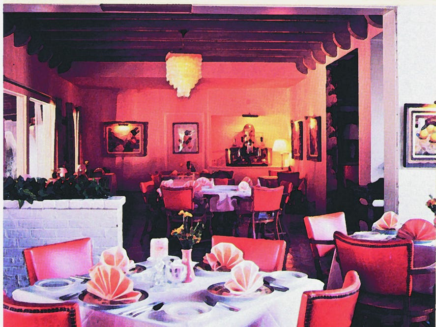 An historic photo of the Orange Tree dining room at the Royal Palms Resort and Spa.