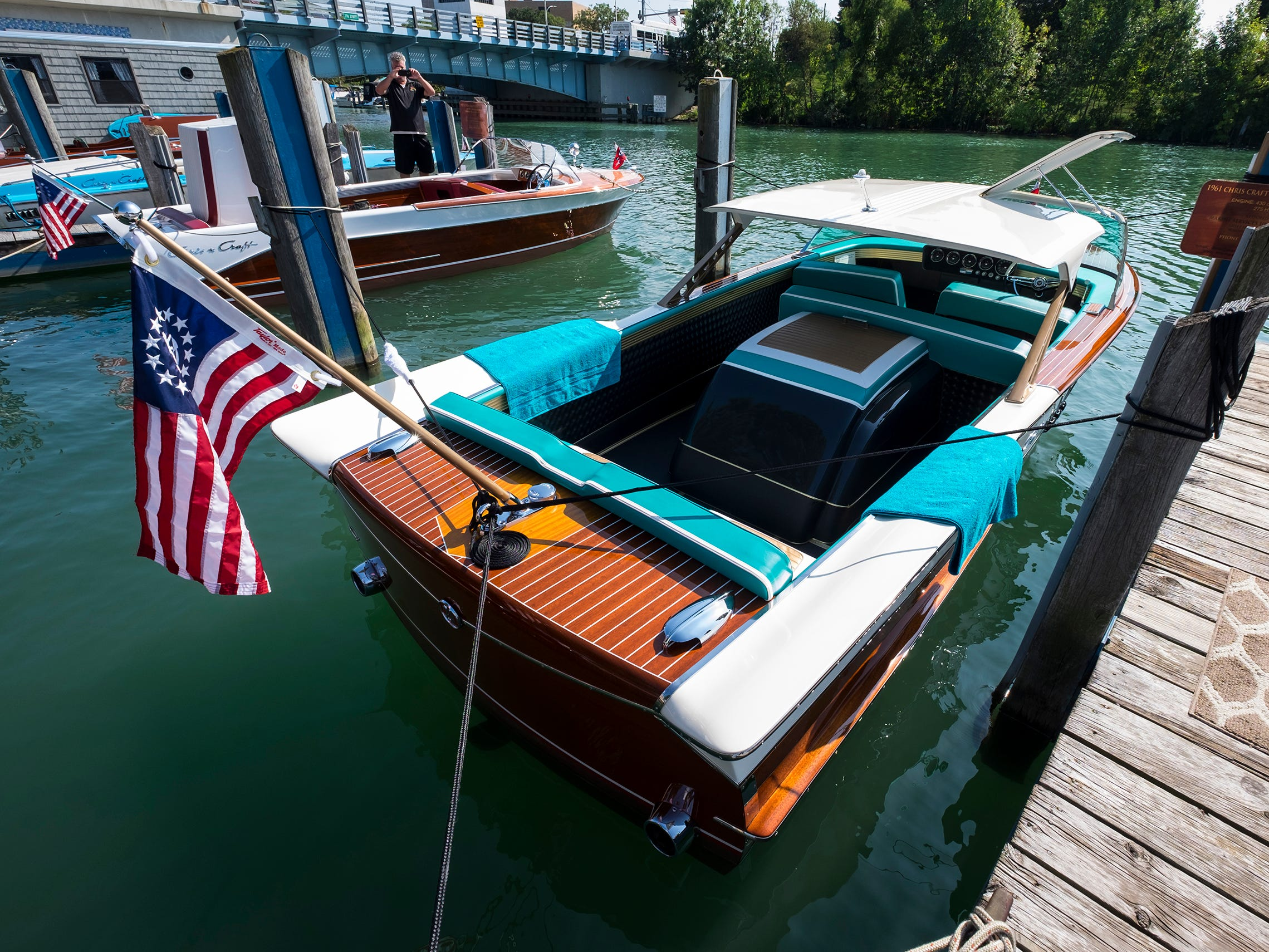 A 21-foot 1961 Chris Craft Continental is docked Friday, Sept. 14, 2018, at the River Street Marina during the 2018 ACBS International Boat Show.