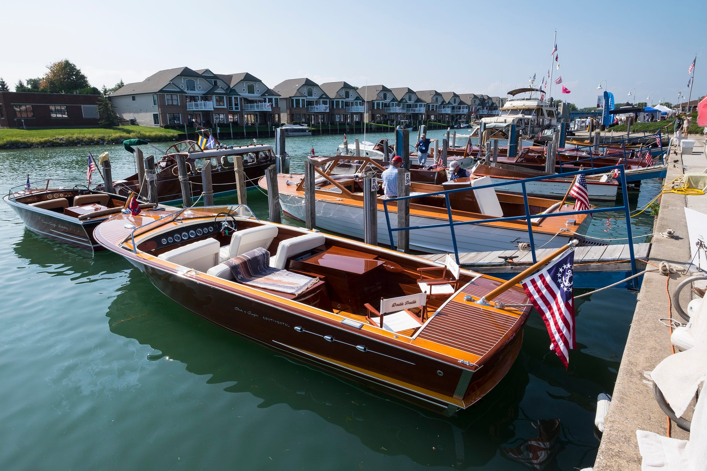 Boats tied in slips line River Street Marina Friday, Sept. 14, 2018, during the ACBS International Boat Show.