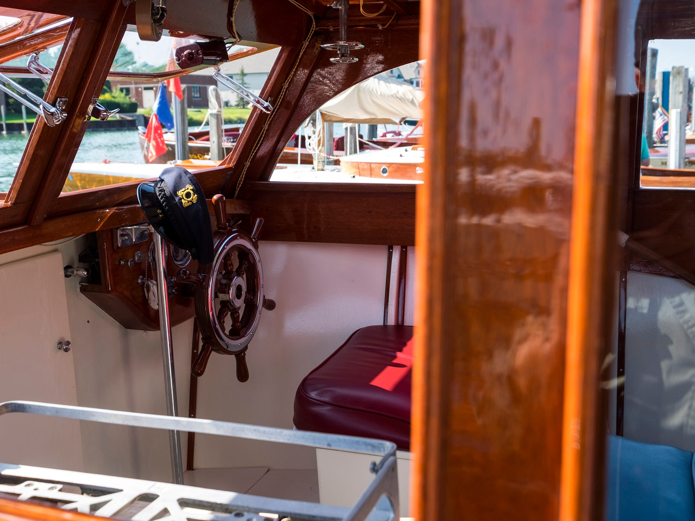 1942 Chris Craft Enclosed Cruiser 26'A 26-foot 1942 Chris Craft Enclosed Cruiser is docked at River Street Marina during the 2018 ACBS International Boat Show.