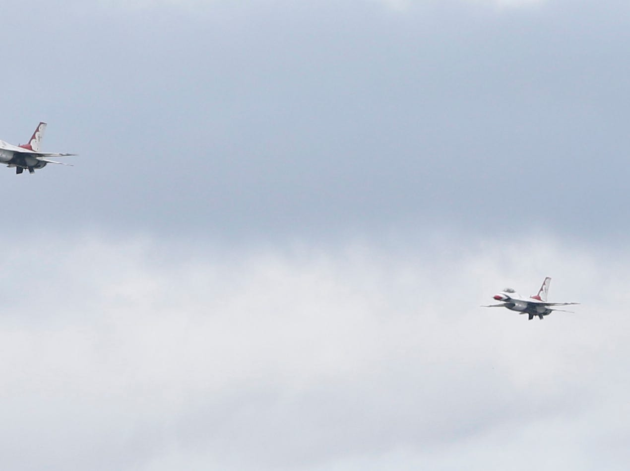 A pair of F16 fighting falcons of the USAF Thunderbirds fly over Stewart Air Force Base in Newburgh on Sept 13, 2018. The Thunderbirds were practicing for the New York Airshow which happens Saturday & Sunday.