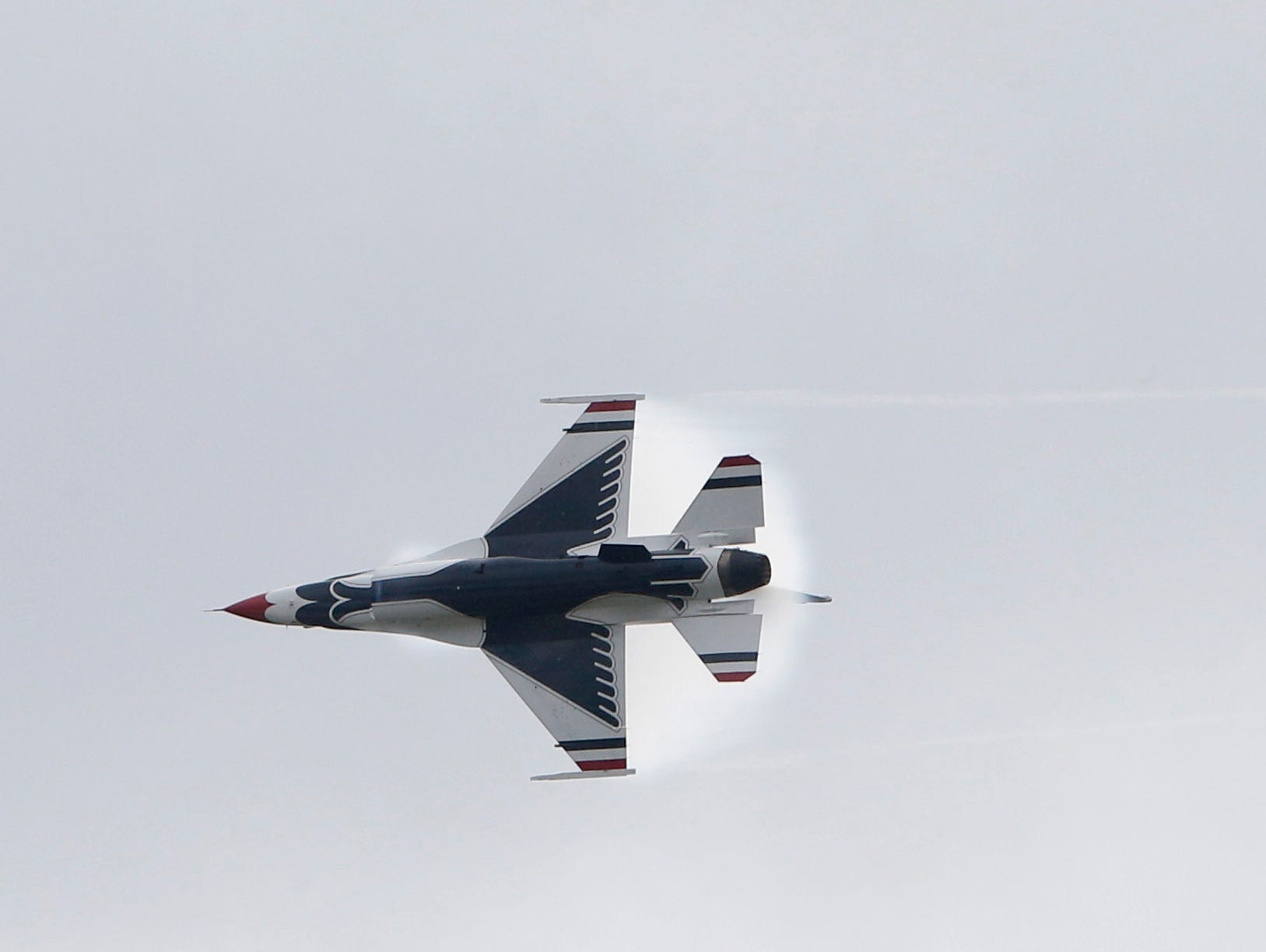 A F16 fighting falcon of the USAF Thunderbirds flies over Stewart Air Force Base in Newburgh on Sept 13, 2018. The Thunderbirds were practicing for the New York Airshow which happens Saturday & Sunday.