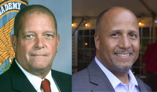 Ulster County Sheriff Paul Van Blarcum, left, and challenger Juan Figueroa.