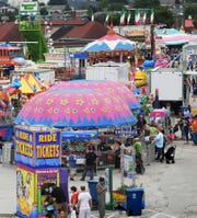 Parents and kids gather at the York Fair children's midway Friday, Sept. 14, 2018. The fair continues through Sunday, Sept. 16. Bill Kalina photo
