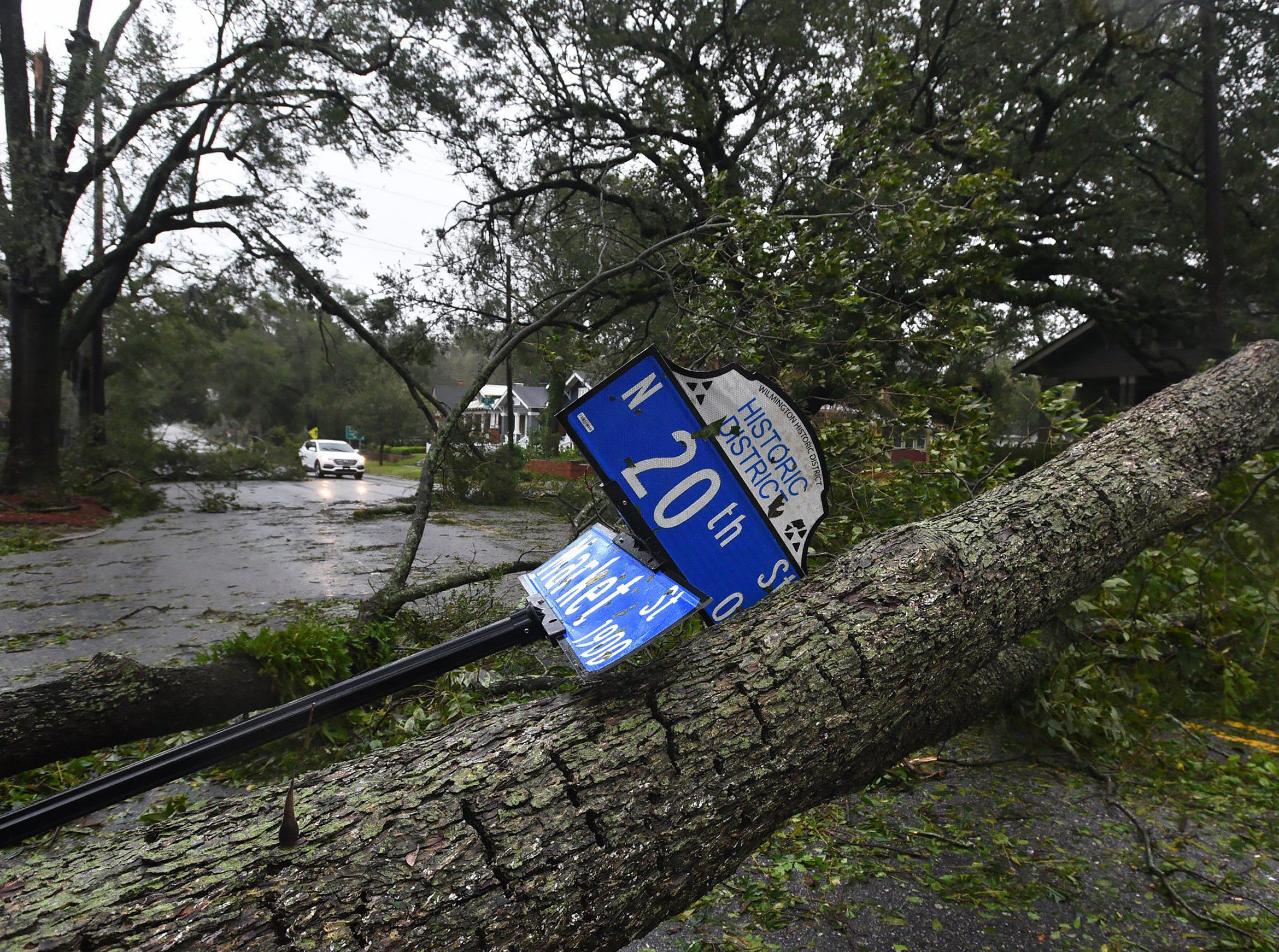 Dozens of downed trees block Market Street in the Historic District of Wilmington, N.C. as Hurricane Florence made landfall Friday Sept. 14, 2018.  (Chuck Liddy/The News & Observer/TNS)