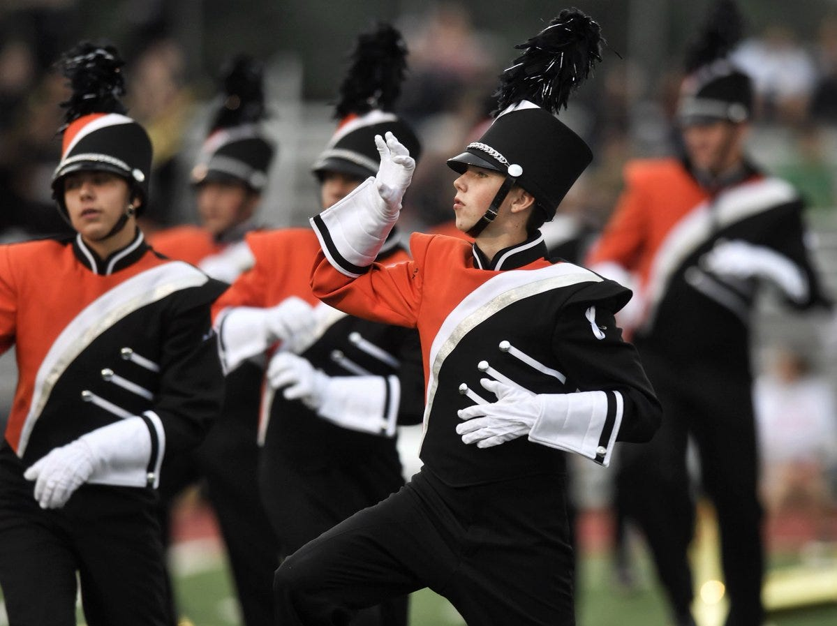 "Central York band plays ""Thriller"" during pregame Friday night."