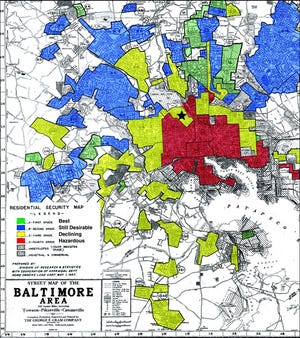 A 1937 Home Owners' Loan Corporation map for Baltimore city showing redlining.