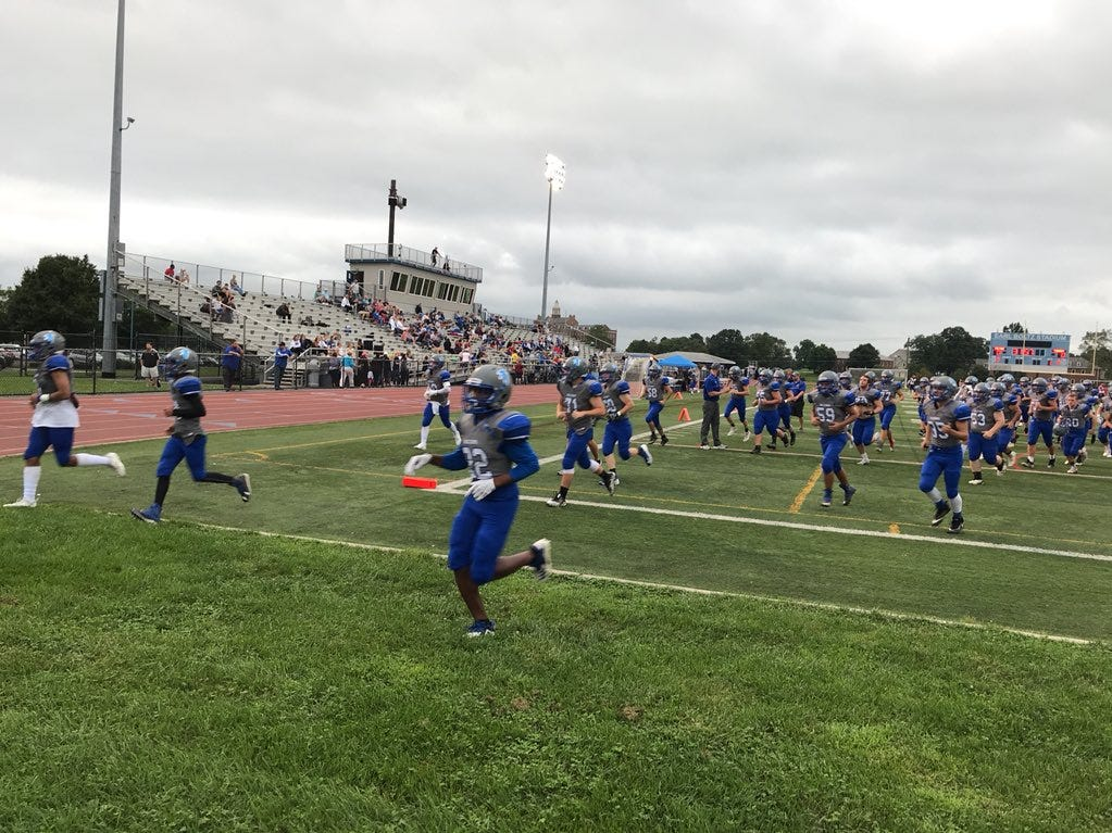 Cedar Crest is without starting QB Logan Horn tonight because of the ankle injury suffered in last week's loss to York.