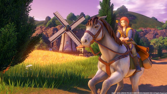 Dragon Quest XI's hero and his steed.