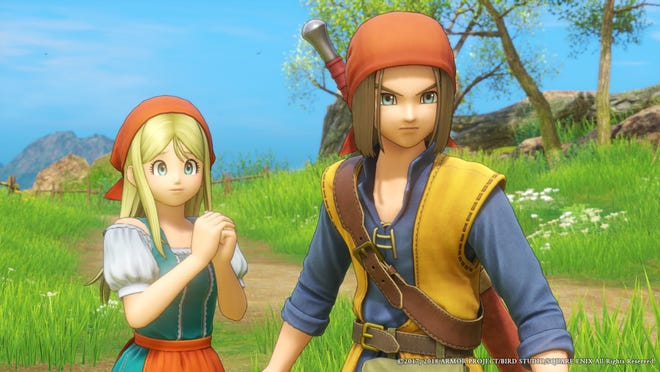 Gemma and Dragon Quest XI's hero.