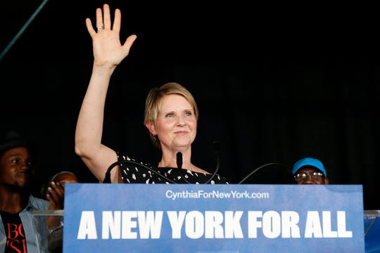 Gubernatorial candidate Cynthia Nixon arrives to deliver her concession speech at the Working Families Party primary night party, Thursday, Sept. 13, 2018, in New York.